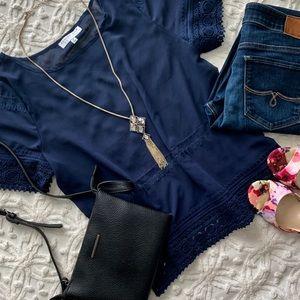 August Silk Options Blue Transparent Lace Blouse